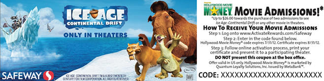Safeway - Ice Age 4 movie ticket