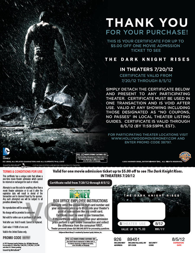 Warner Home Video - The Dark Knight Rises ticket
