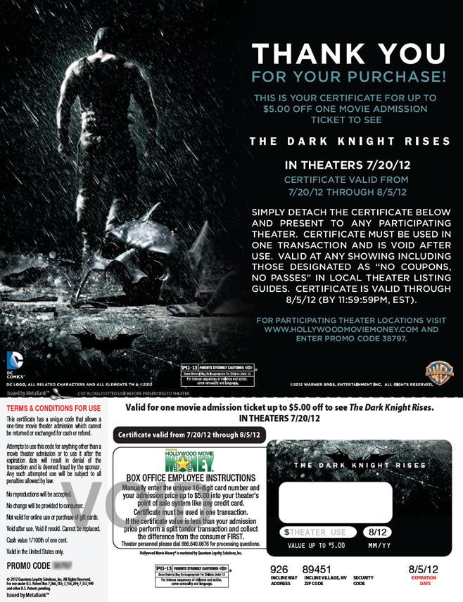 Warner Home Video - The Dark Knight Rises ticket