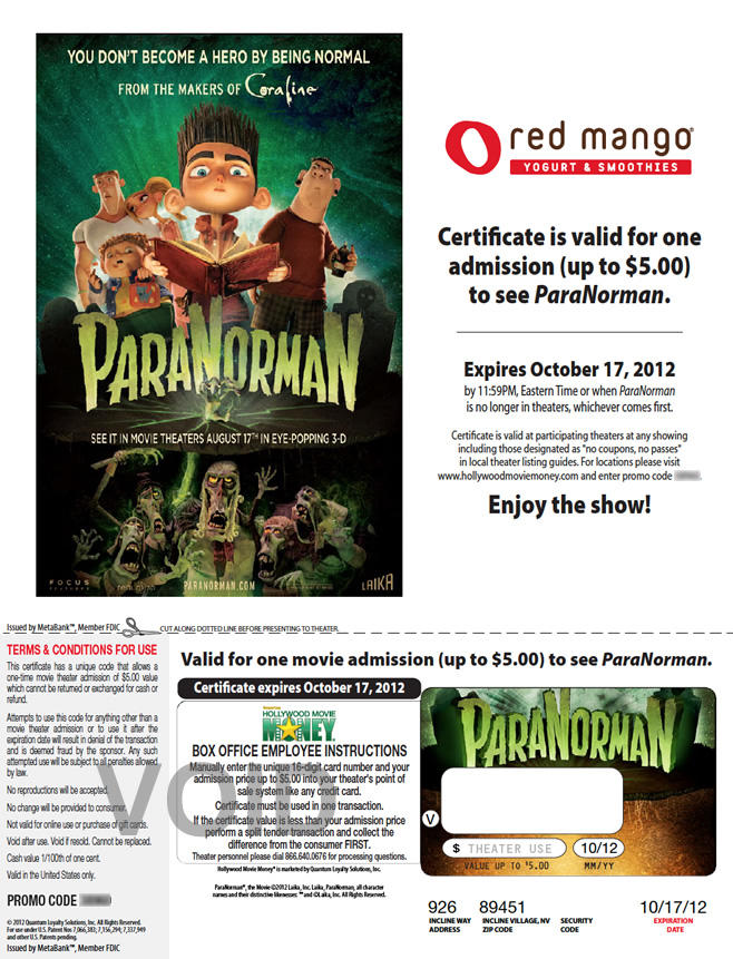 Red Mango/ParaNorman - Print at home ticket