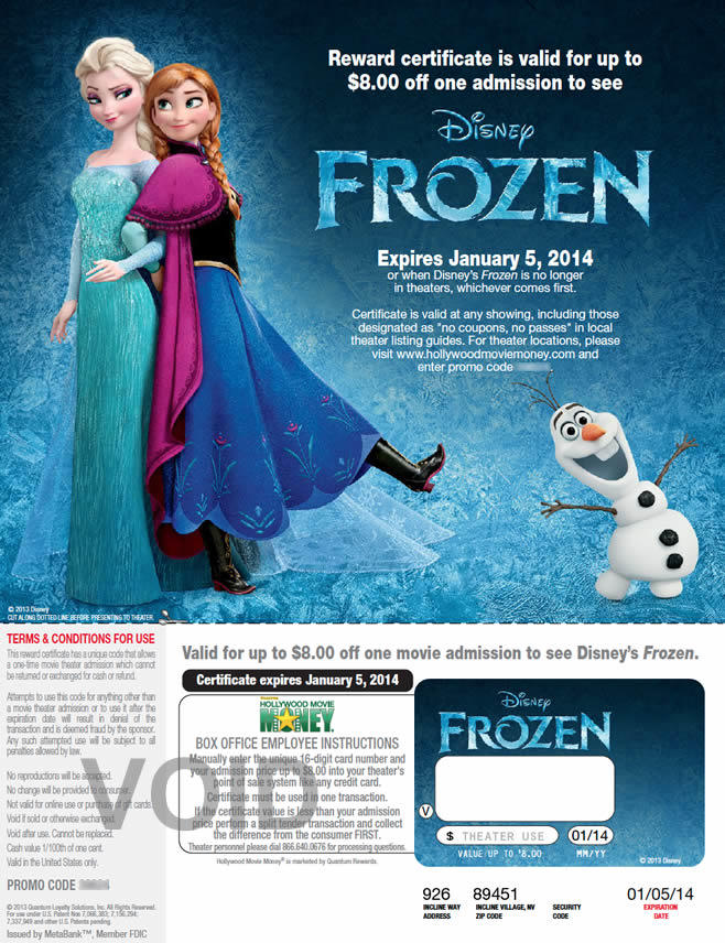 Walmart Frozen ticket