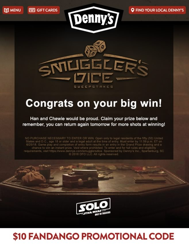Denny's-Solo Sweepstakes
