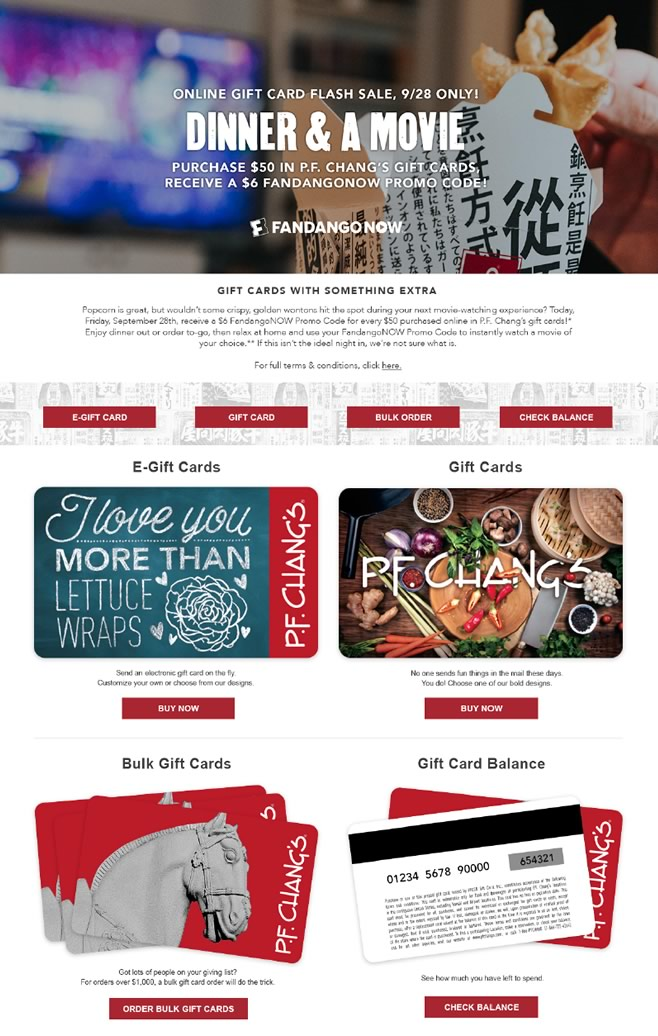 P.F. Chang's-Gift Card Promotion