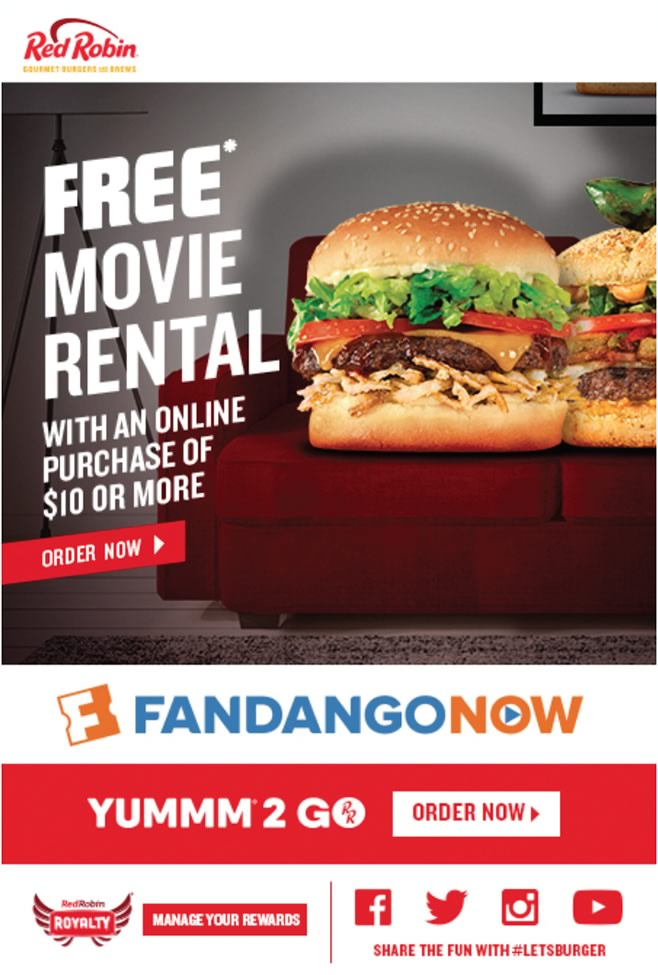 Red Robin Take-out Promotion