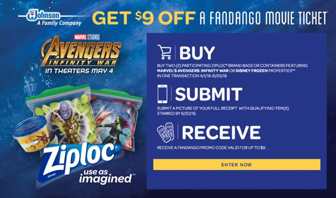 Ziploc-Avengers: Infinity War Ticket Offer