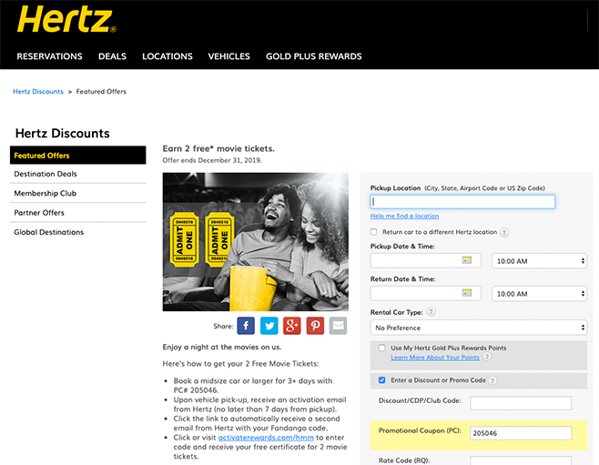 Hertz Booking Incentive